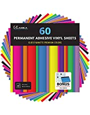 """Kassa Permanent Vinyl Sheets (Pack of 60-12"""" x 12"""") - Includes Bonus Squeegee - Matte & Glossy Assorted Colors Bundle - Self Adhesive Vinyl Paper - Works with Any Die Cutting Machine"""