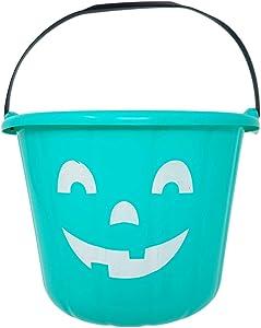 Teal Trick or Treat Pumpkin Halloween Bucket - 9 Inch Allergy and Gluten Friendly Jack-O-Lantern Candy Pail