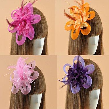 Halloween headdress Women's Feather Flower Shape Fascinators (Assorted Color),Purple Christmas headdress -
