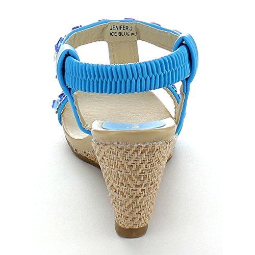 Bellamarie Jenifer-2 Kvinnor Rhinestone T-rem Elastisk Rem Halka På Kil Sandal, Färg: Is Blå, Storlek: 6,5