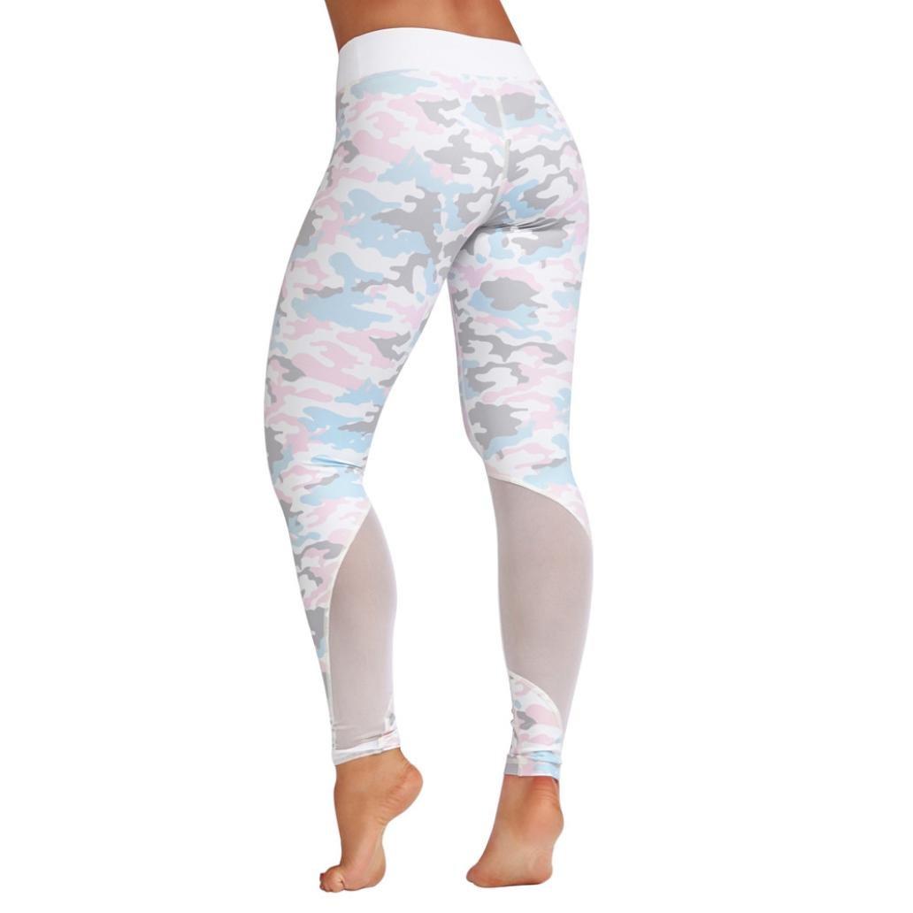 ❤️ Costura de Malla Las Mujeres,Cintura Alta Deportes Gimnasio Yoga Corriendo Fitness Leggings Pantalones Athletic Pantalón Absolute