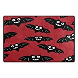Cooper girl Halloween Cute Bat Decorative Area Rug Pad Floor Mat for Living Dining Room Bedroom 60x39&31x20 Inch