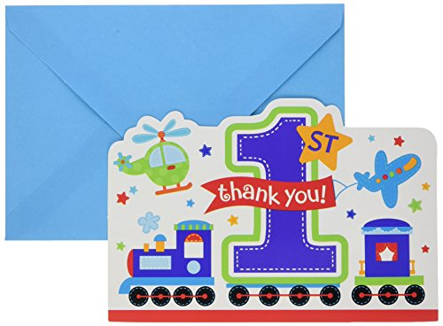 "Amscan ""All Aboard Boy"" Die-Cut ""Thank You"" Postcards, Birthday, 48 Ct."