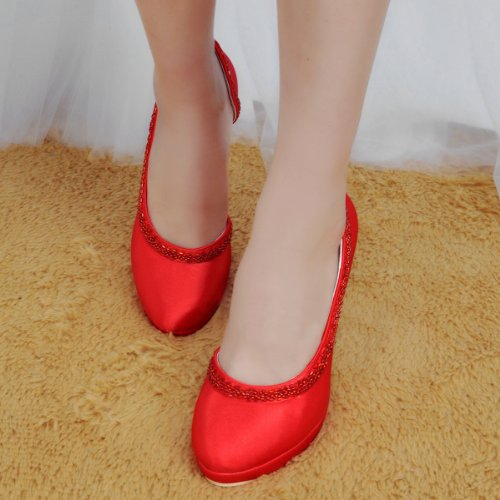 Party Satin Handmade GYMZ718 High Bridal Minitoo Shoes Beading Stiletto Bridesmaid Wedding Toe Evening Heel Pumps Womens Red Almond U8EHvxwqH