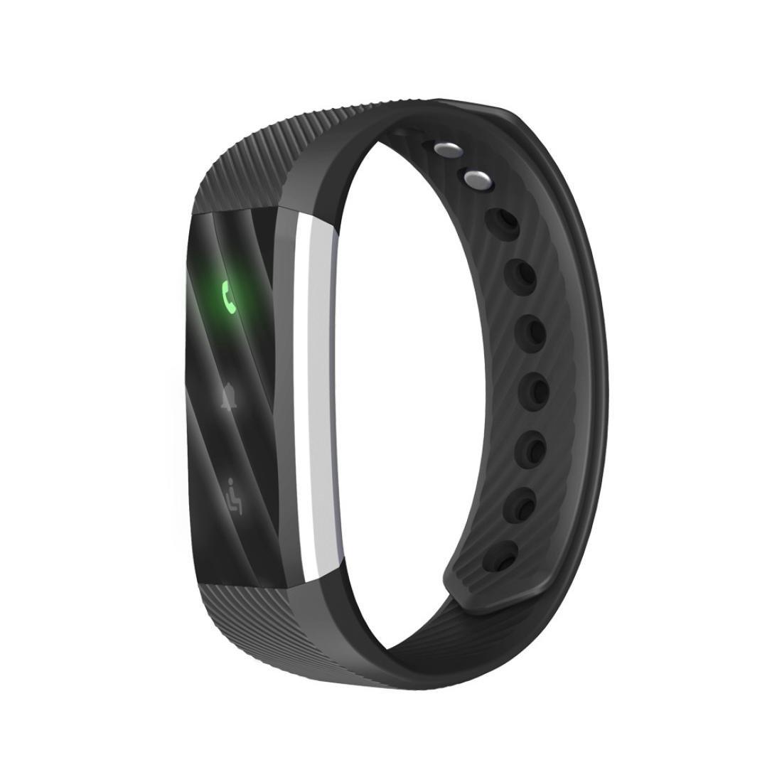 allywitスマートBluetoothブレスレットスマート腕時計歩数計フィットネストラッカーfor Android IOS B01N0VWIAL ブラック