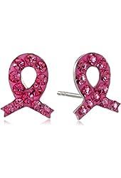 Sterling Silver Crystal Pink Ribbon Stud Earrings