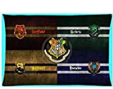45 x 35CM Red Blue Harry Potter Pillow Case, Yellow Black Harrypotter Pillowcase Gryffindor Slytherin Hufflepuff Ravenclaw Hogwarts School Witchcraft Wizardry Magic Wands Movie Series Polyester