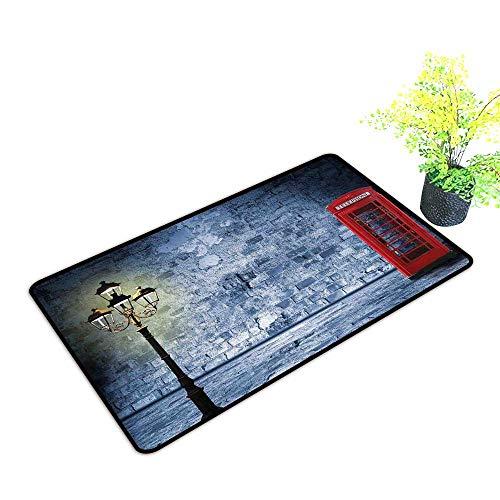 - Diycon Washable Doormat Lantern Vintage Scene Brick Wall and British Phone Box in Dark Night Twilight W30 xL39 Breathability Violet Blue Vermilion