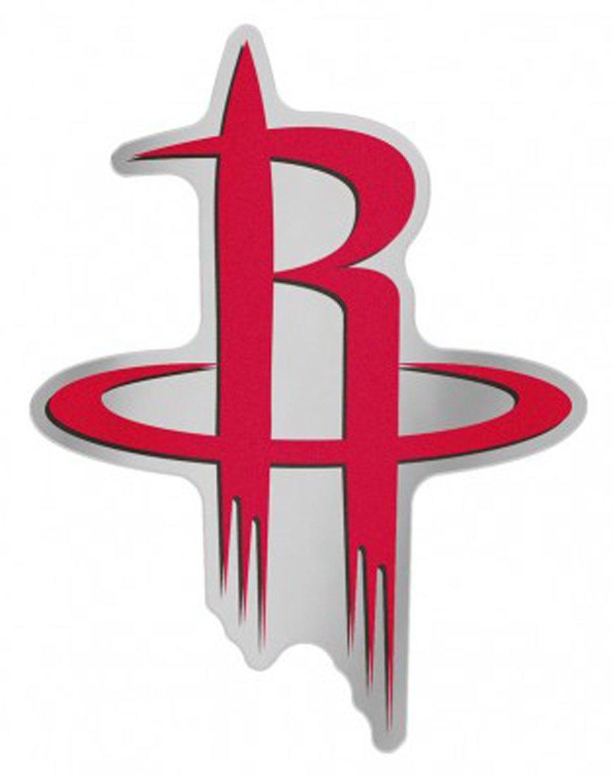 NBA Houston Rockets Auto Badge Decal, hard thin plastic, 4.5x3.5 inches
