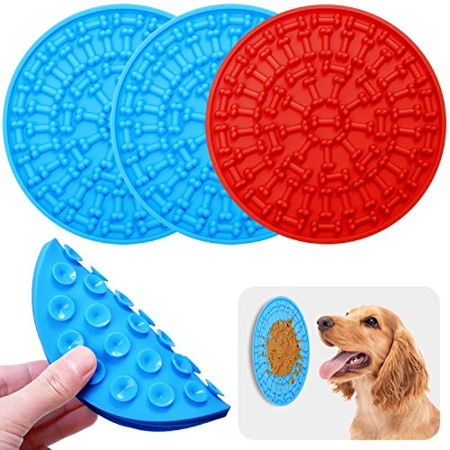 URATOT Dog Lick Pad Dog Lick Mat Treat Distributing Mat Slow Treat Distributing Mat with Super Suction to Wall for Pet…