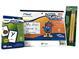 Pre-k Through 1st Grade Alphabet Flashcard and Letter Writing Tablet Bundle: Three Items - Writting Tablet, Flashcards, and My First Pencil Pack