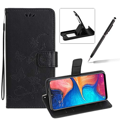 Strap Leather Case for Samsung Galaxy A10E/A20E,Black Wallet Leather Cover for Samsung Galaxy A10E/A20E,Herzzer Classic Pretty Butterfly Lotus Drawing Embossed Magnetic Stand Card Holders Case