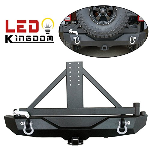 LEDKINGDOMUS Rock Crawler Jeep JK Rear Bumper with Tire Carrier and 2 Inch Hitch Receiver