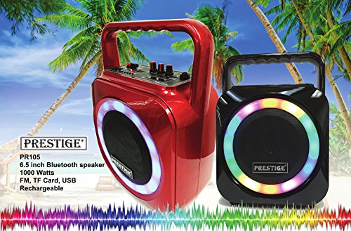Prestige PR-105 Portable Bluetooth Rechargeable Hi-Fi Outdoor Speaker Mp3 Player, 6.5inch Speaker, AUX, SD Card, USB, FM Radio, AC , MIC Connection, Digital Multi-Colored Light - Outlet Prestige