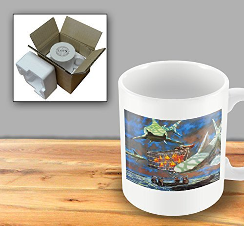 Printed Banksy Mug - Small Fish In Shopping Trolley Hiding From Sharks by The Victorian Printing Company ()