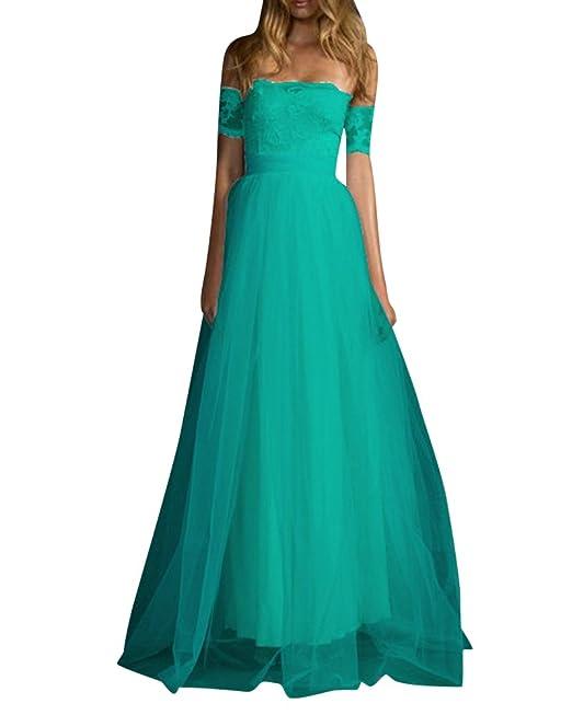 b03e0e995ef9 Quge Donna Pizzo Vestito Lunghe Formale Coctel Sera Abito da Cerimonia Vestiti  da Matrimonio: Amazon.it: Abbigliamento