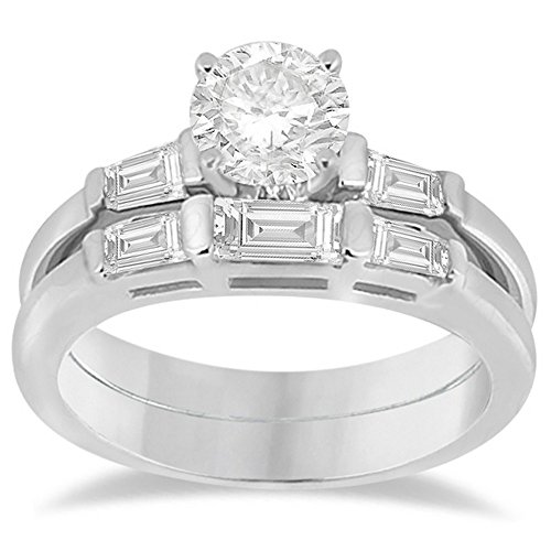 Set Three Baguette Diamond Band - Jewels By Lux Diamond Baguette Engagement Ring and Wedding Band Matching Bridal Set in Platinum 0.60cw