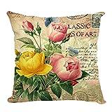 Retro Sweet Flowers Cotton Linen Decorative Throw Pillow Case Cushion Cover B