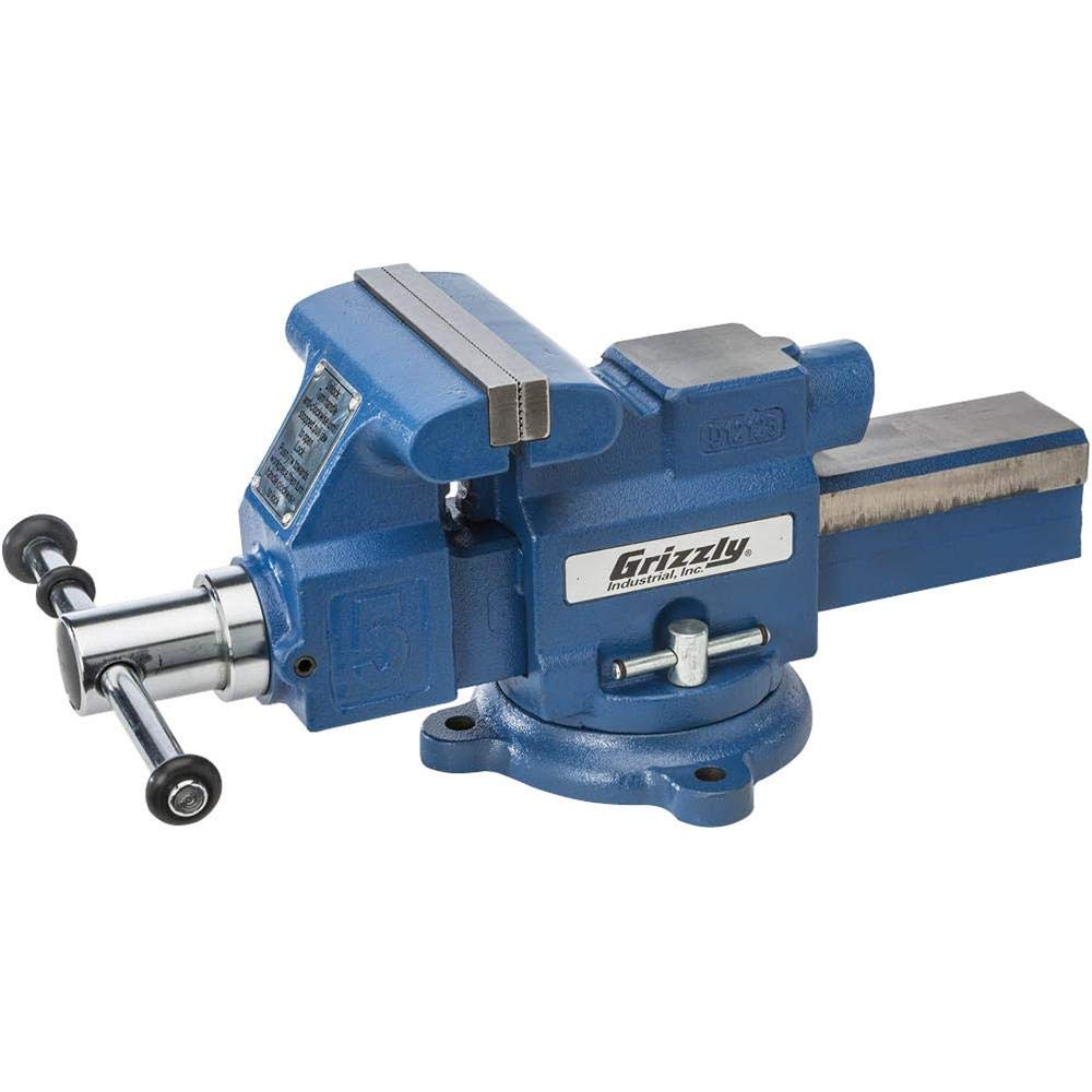 Grizzly T28133-5'' Quick-Action Bench Vise with Anvil