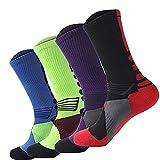 Aisprts Mens Baksetball Socks, Boys Football Dri-Fit Athletic Sports Running Compression Socks Size