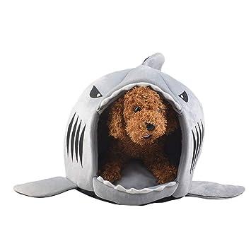 Comtervi Tiburón de diseños Caseta Perro Cama Cesta Perros y Gatos Cama con cojín Perro Mascota Saco de Dormir para Interior Lavable Casa Sofá 42 cm/50 cm: ...