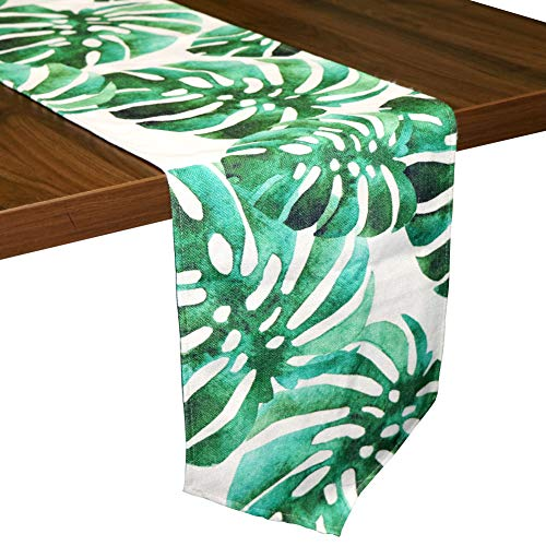 Aytai Large Tropical Green Table Runner 12 x 85 Inch, Cotton Linen Palm Leaves Table Runners for Luau Hawaiian Party Decorations Wedding - Runner Table Leaves
