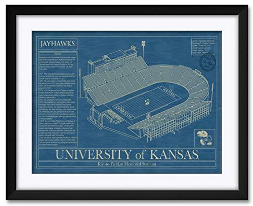 Northwest Art Mall David Booth Kansas Memorial Football Stadium Jayhawk Framed & Matted Hand-Drawn by Robert Redding. Print Size: 17
