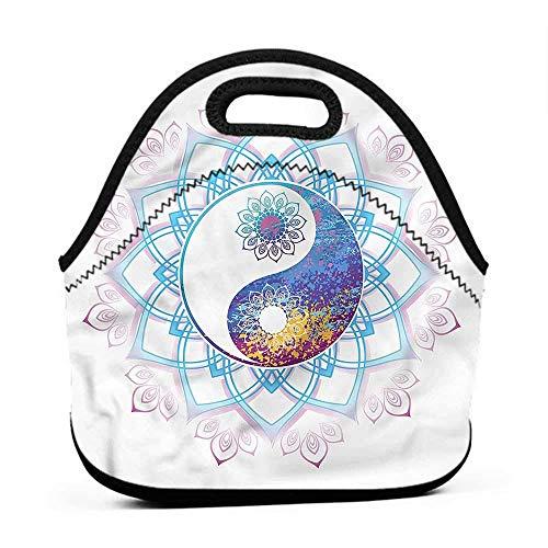 for Womens Mens Boys Girls Ethnic,Yin Yang Symbol Swirls,orange lunch bag for -