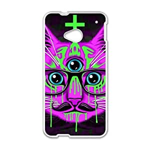 Nebula Galaxy Space Cheshire Cat case cover for HTC One M7(Laser Technology),Metal and Hard Plastic Case-Clear Frame by runtopwell