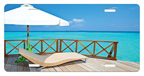 Lunarable Coastal License Plate, Parasol and Chaise Lounges and Deckchair on Terrace of Water Villa Maldives, High Gloss Aluminum Novelty Plate, 5.88