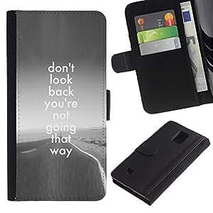 iBinBang / Flip Funda de Cuero Case Cover - El Camino de Regreso Gris Libertad Inspiring - Samsung Galaxy Note 4 SM-N910