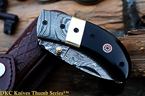 8 6 18 SALE DKC-43 BLACK THUMB Damascus Steel Folding Pocket Knife 3.5 Folded 6.25 Open 7.5oz 2.25 Blade Black Buffalo Horn Damascus Bolster