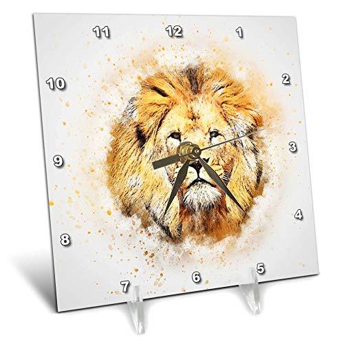3dRose Lens Art by Florene - Watercolor Art - Image of Portrait Painting of Majestic Lion - 6x6 Desk Clock (dc_300361_1)