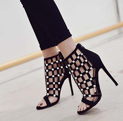 Open Shoes Fashion Zipper Sandals Dress 35 Size Shoes Rivets Women Pure Black Shoes Court Color Toe 11cm OL Eu Hollow Roma Stiletto 40 0HW8EWq