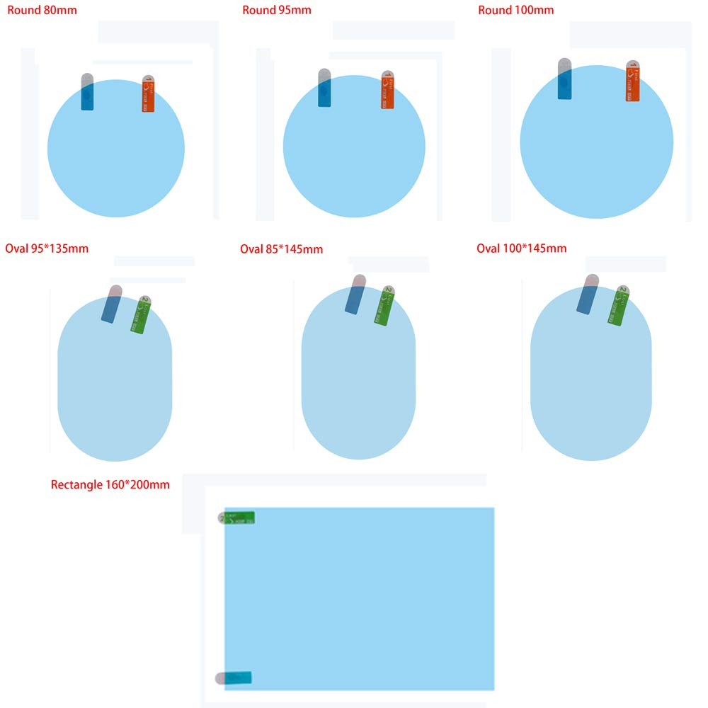 Round//square//Oval Window Protective Sticker Glass Car Rearview Mirror Film Rainproof Hydrophobic Anti-Fog