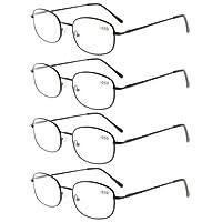 Eyekepper metallo Telaio Cerniere a molla braccio occhiali da lettura Confezione da 4 paia(1 paio di ogni colore)