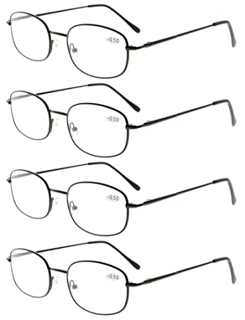 9b82fac969 Eyekepper Metal Frame Spring Hinged Arms Reading Glasses Pack of 4 Pairs  +2.0