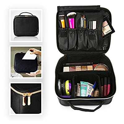 BEAUTYBOX Travel Makeup Bag Cosmetics Train Case - Portable Make Up and Toiletry Organizer for Women - Fits All your Essential Beauty Products - Small Compact, Organized, and Large Capacity Storage