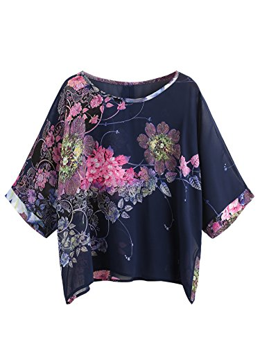 Milumia Women's Florals Batwing Sleeve Button Back Chiffon Blouse Large Multicolor