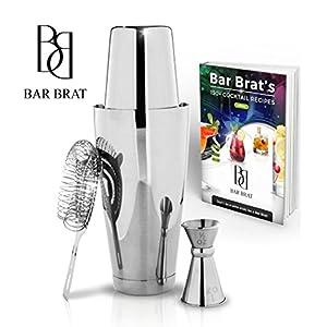 4 Piece Boston Shaker Bar Set by Bar Brat ™ / Bonus 130+ Cocktail Recipes (ebook) / Bonus Jigger / Mix Any Drink To Perfection