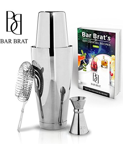 4 Piece Boston Shaker Bar Set by Bar Brat TM / Bonus 130+ Cocktail Recipes (ebook) / Bonus Jigger/Mix Any Drink To Perfection