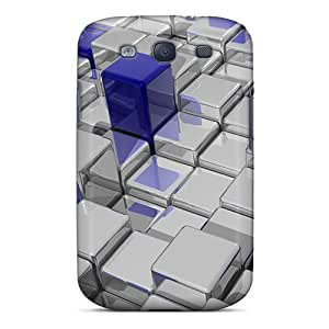 Awesome 3d Cubes Flip Cases With Fashion Design For Galaxy S3