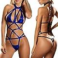 Fashion Story Women's Sexy Clubwear Faux Leather Lingerie Set