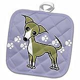 3dRose Janna Salak Designs Dogs - Cute Italian Greyhound Fawn Tan Blue Pawprint Background - 8x8 Potholder (phl_12095_1)