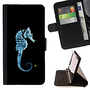For Samsung Galaxy Note 3 III Seahorse Blue Light Black Ocean Sea Creature Style PU Leather Case Wallet Flip Stand Flap Closure Cover