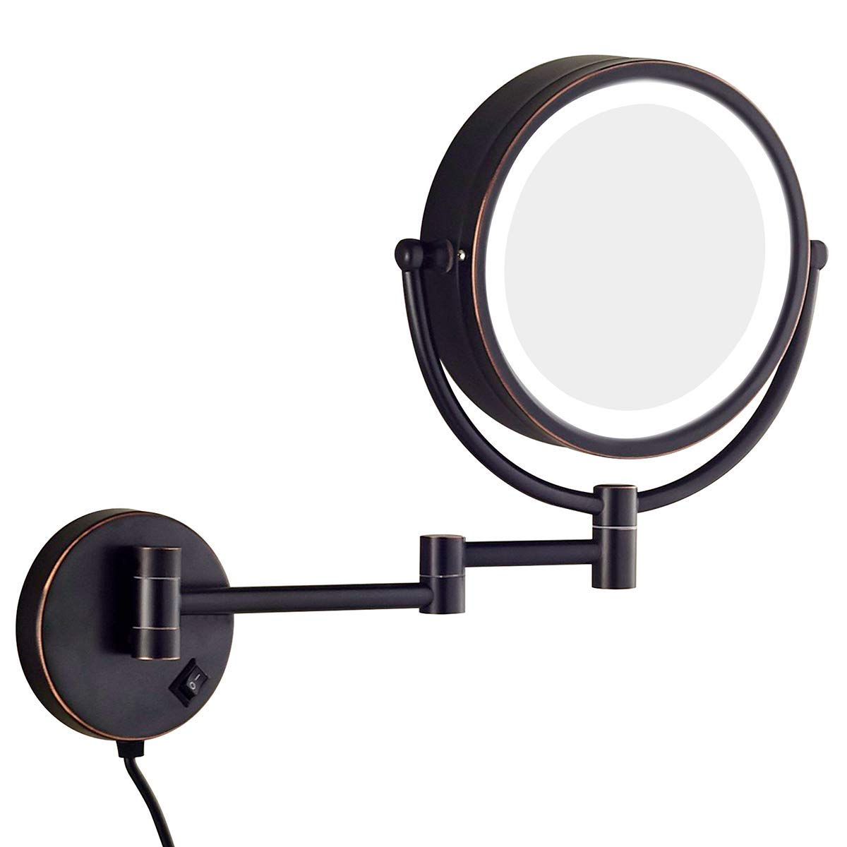 Sanliv 8.5 Inch LED Lighted Wall Mount Makeup Mirrors Wall Mounted Magnifying Shaving Mirror