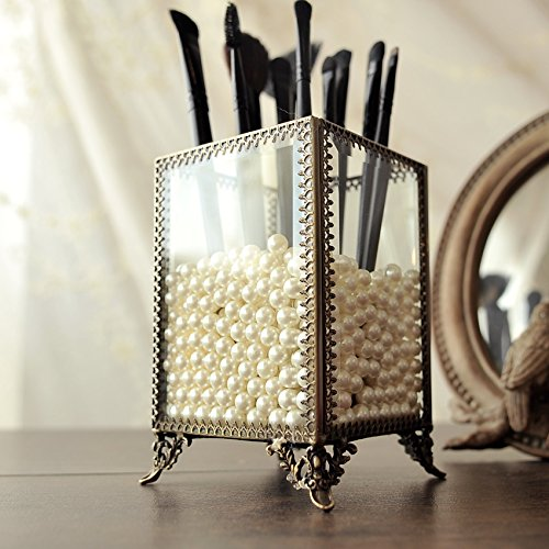 (PuTwo Makeup Organizer Vintage Make up Brush Holder with Free White Pearls - Small)