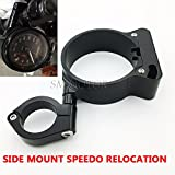 Black CNC SIDE MOUNT SPEEDO RELOCATION BRACKET for HARLEY SPORTSTER 1995-2014