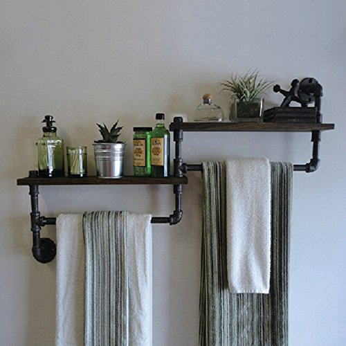Yomiokla Bathroom Accessories - Bathroom Metal Towel Ring American Village retro industrial air iron pipes to wall mounted wooden shelves built-in shelf 802055 matte black