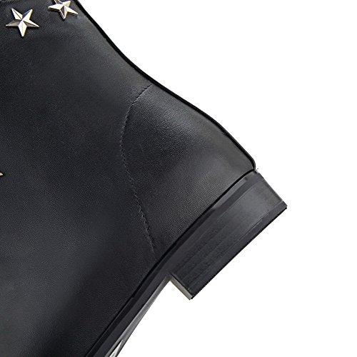 Allhqfashion Donna Con Cerniera A Punta Chiusa Low-heels Pu Low-top Stivali Neri